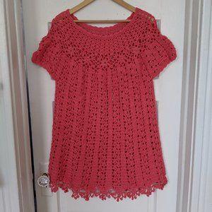 Vintage Handmade Pink Crochet Beaded Dress
